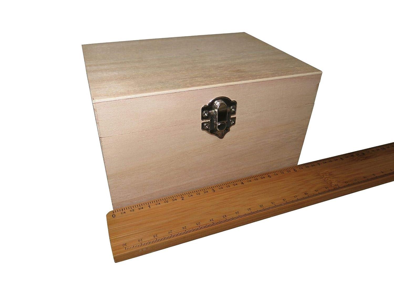 FILORO - Cajas de madera para decorar recuerdos de Deco, tamaño pequeño, grande, para manualidades, caja de joyería – Tapa de juguete, tesoro, pintura para el pecho, decoración de todos los tamaños 1) 8cm x 6cm x 5cm
