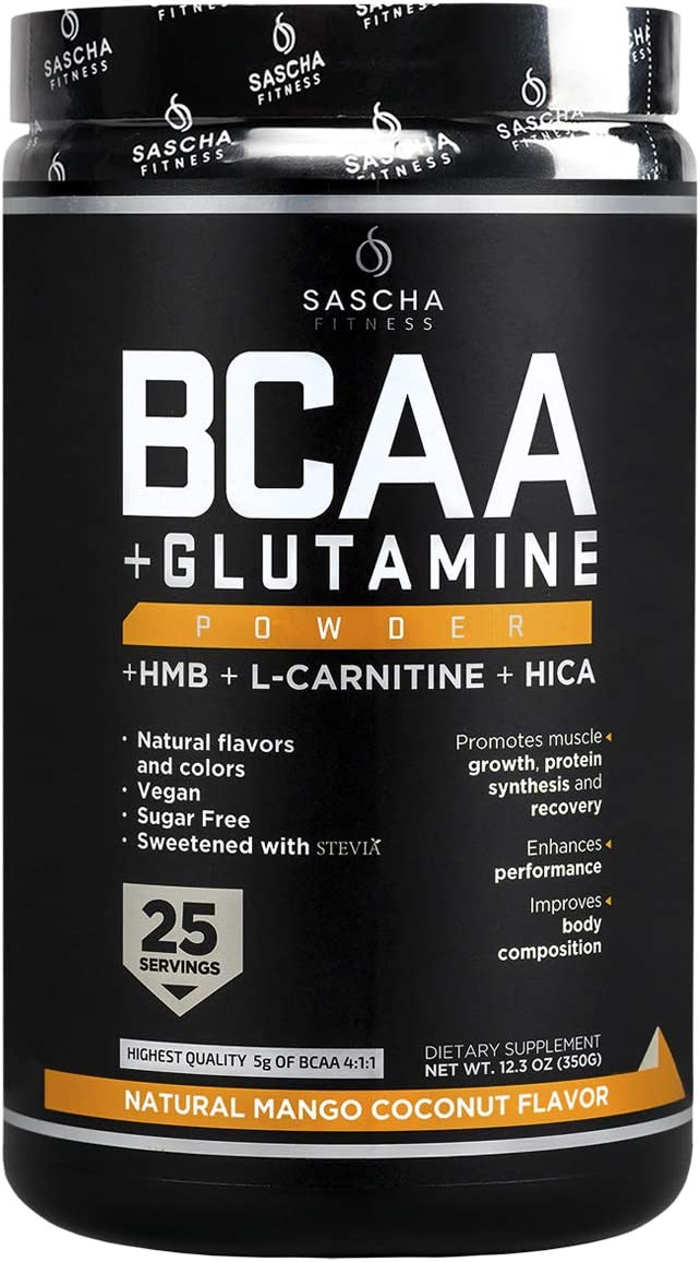 Sascha Fitness BCAA 4:1:1 + Glutamine, HMB, L-Carnitine, HICA | Powerful and Instant Powder Blend with Branched Chain Amino Acids (BCAAs) for Pre, Intra and Post-Workout (Natural Mango Coconut Flavor): Health & Personal Care