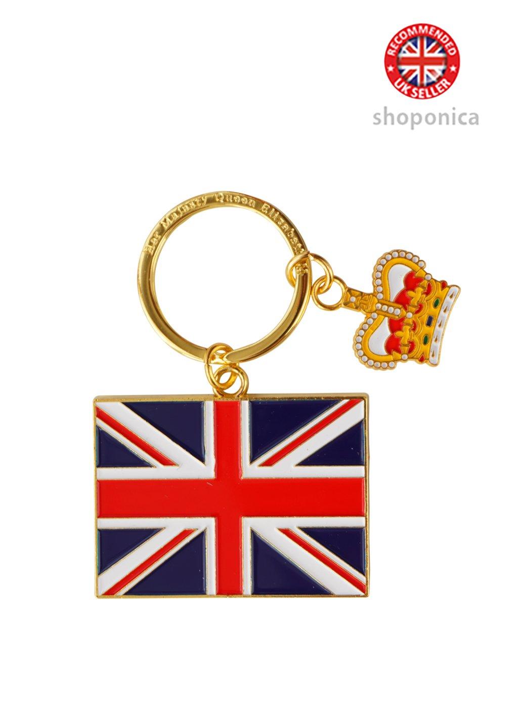 Llavero con bandera de Reino Unido con corona de Londres ...