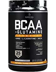 Sascha Fitness BCAA 4:1:1 + Glutamine, HMB, L-Carnitine, HICA | Powerful and Instant Powder Blend with Branched Chain Amino Acids (BCAAs) for Pre, Intra and Post-Workout (Natural Mango Coconut Flavor)