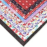 """David accessories Heart Love Pattern Printed Faux Leather Sheets Fabric Canvas Back 9 Pcs 8"""" x 13"""" (20 cm x 34 cm) for Valentines Day Making Bags Crafting DIY Sewing Festival Decor (Valentines Day)"""
