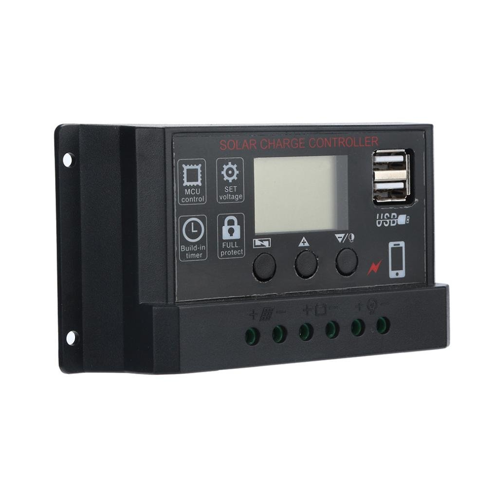 40A Solar Panel Regulator Battery Charge Controller - USB 30A 12V-24V with Dual USB Port Charger and LCD Digital Display (Black)