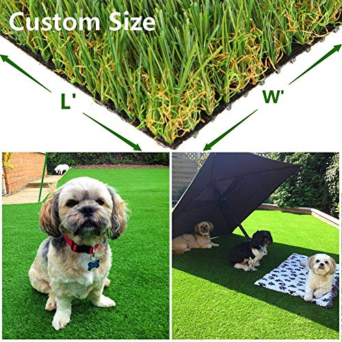 Green Pasture Artificial Grass Turf w/Drainage Holes & Rubber Backing, Indoor/Outdoor Realistic Synthetic Fake Lawn Rug Mat for Backyard, Balcony, Landscape and Pets - 1.38