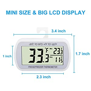 Waterproof Refrigerator Fridge Thermometer, Digital Freezer Room Thermometer, Max/Min Record Function Large LCD Screen and Magnetic back for Kitchen,