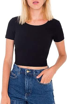 LONGBIDA Womens Crop top Soild Scoop Neck Short Sleeve Tshirts