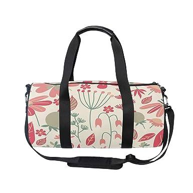 Travel Duffels Pink Flowers Leaf Duffle Bag Luggage Sports Gym for Women /& Men