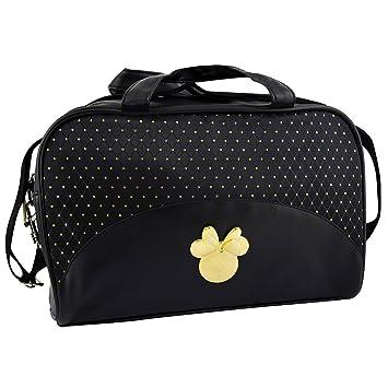 Disney Mickey et Minnie Sac à main avec insert Doré et bandoulière réglable, noir