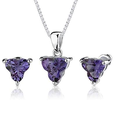 Revoni Ultimate Magic: 10.75 carat Tri Flower Cut Alexandrite Pendant Earring Set in Sterling Silver Qj3VSmGJtX