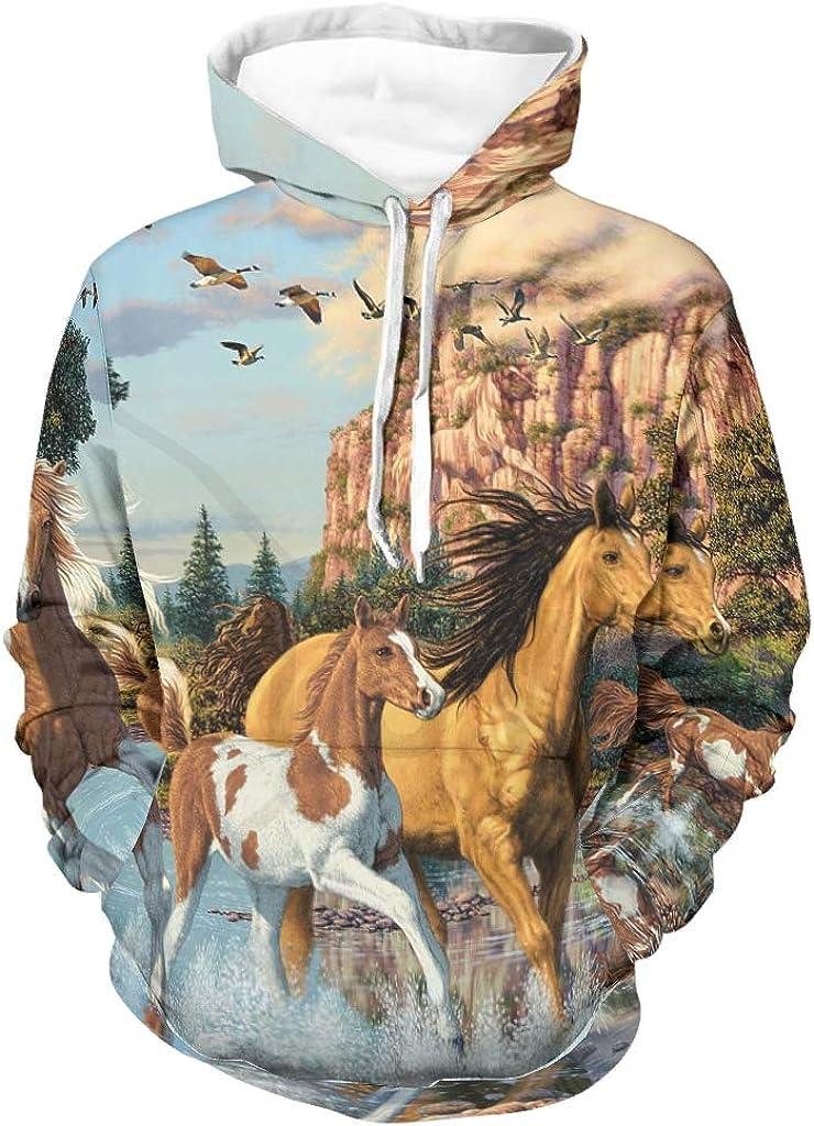 Shinelly Sudadera con capucha para hombre, estilo vintage, con estampado de caballos, pájaros, montañas, sarcástico, manga larga, con bolsillos, ropa cotidiana
