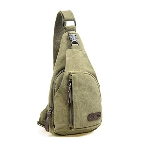 107a47ddcb6 Casual Canvas Unbalance Backpack Crossbody Sling Bag Shoulder Bag Chest Bag  (Army green)