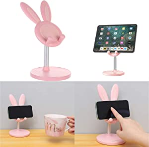 Cute Bunny Ear Cell Phone Holder, Height Angle Adjustable Cell Phone Stand, Compatible with All Mobile Phone Desk Mobile Phone Accessories Desktop, Cute Home Office Decor Gift for Girl