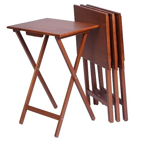 Amazon Com Wood Set 4 Portable Tv Table Folding Tray Desk