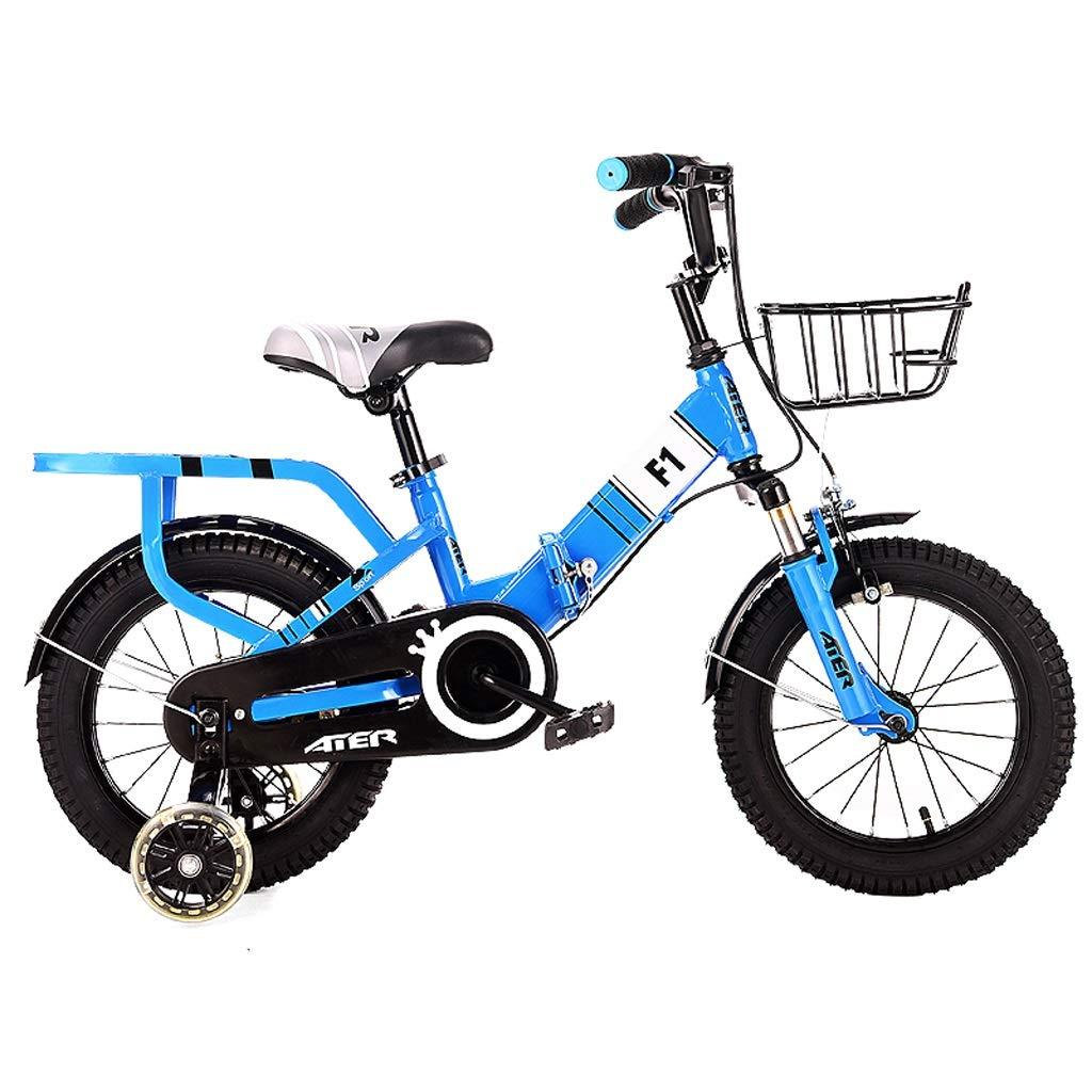子供の自転車3-4-5-6-7-8歳の男の子の女の子14/16/18インチペダル自転車折りたたみ自転車 14in Blue B07QSJTBTD