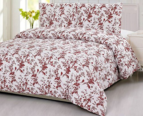 Cotton Floral Pattern Red White Background Bedding Set