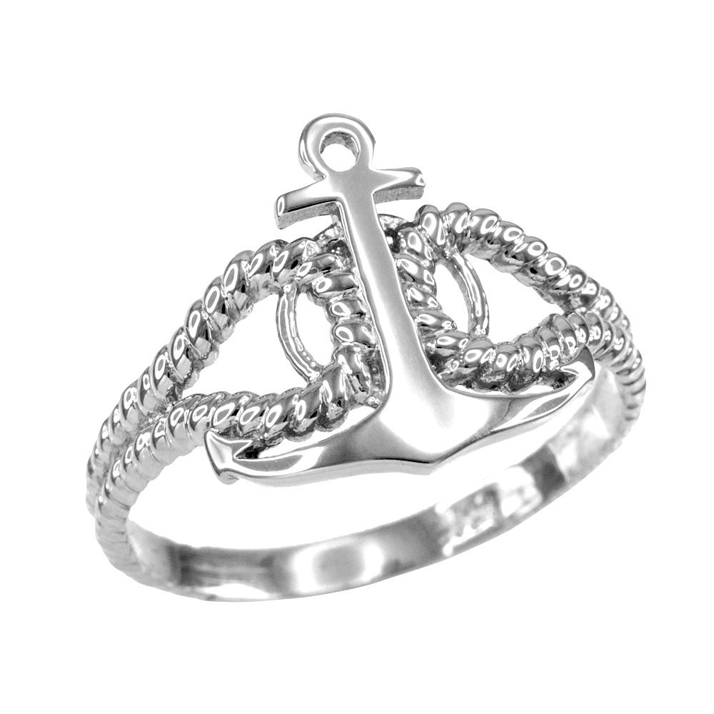 High Polish 14k White Gold Twisted Style Nautical Rope and Anchor Ring (Size 11) by Modern Contemporary Rings