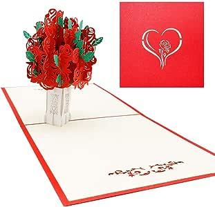Rose Bouquet Pop Up Card 3D Card, Mother's Day, Flower, Romance, Wedding, Anniversary, Wife, Love Card