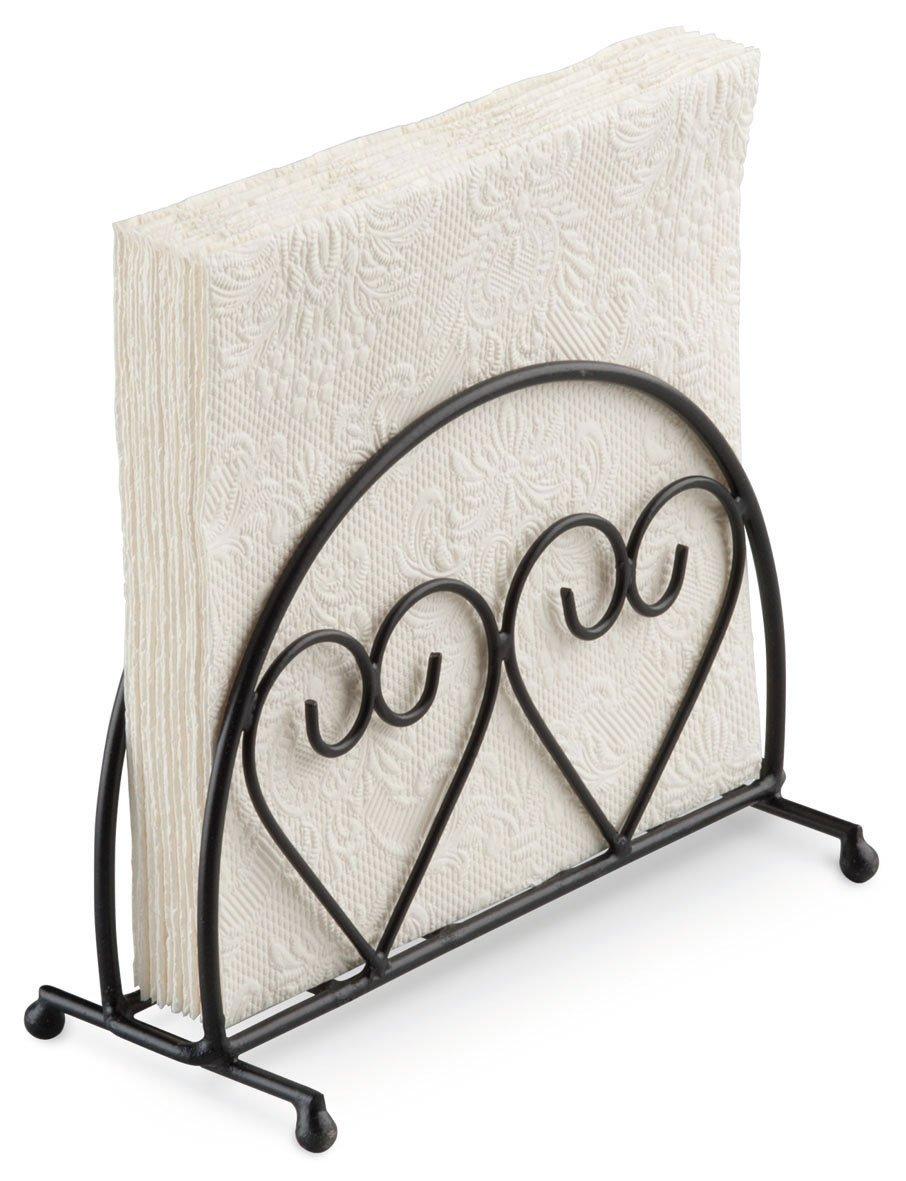 Ambiente Two Hearts Design Upright Napkin Holder, Black