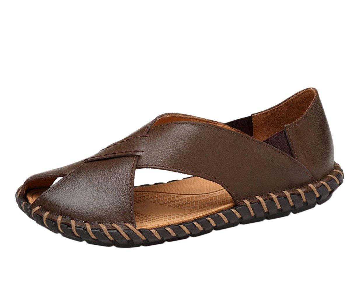 Icegrey - Sandalias de vestir de Piel Lisa para hombre 45 EU|marrón
