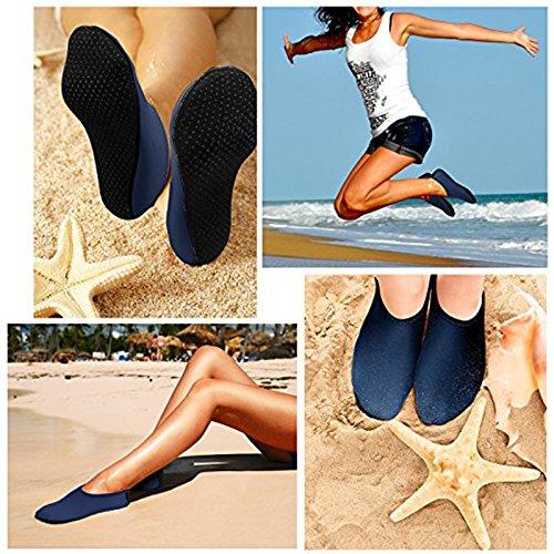 SODIAL Unisex Barefoot Water Skin Shoes Aqua Socks for Beach Swim Surf Yoga Exercise Navy blue L Navy blue L5EYti