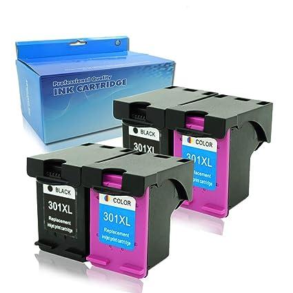 4 x Gran Capacidad Reemplazo para HP 301 301 xl Cartuchos de Tinta compatibles con HP Deskjet 1000 1050 1050 A 2000 2050 2050 A 2054 A 2510 2540 3000 ...