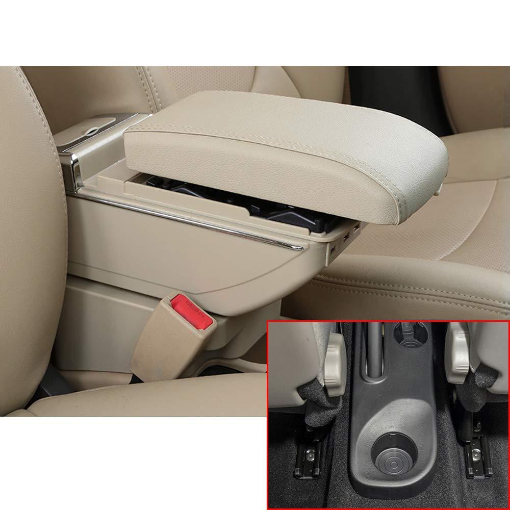 Para Kaptur Captur QM3 14-17 Gama alta Auto Apoyabrazos Consola Central Reposabrazos Accesorios Con funci/ón de carga 7 puertos USB iluminaci/ón Led Negro