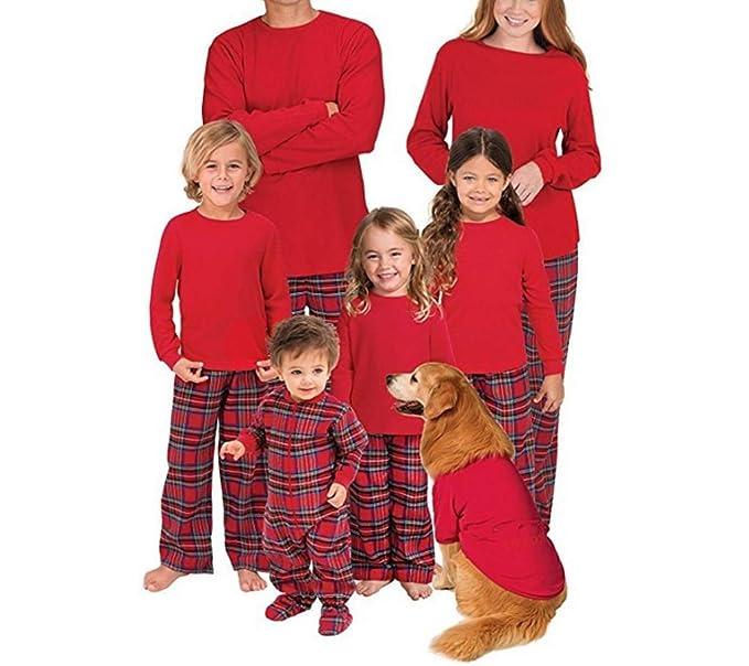 Conjunto de Pijama Familiar de Navidad A Cuadros Ropa para el hogar 2 Piezas Padre Madre