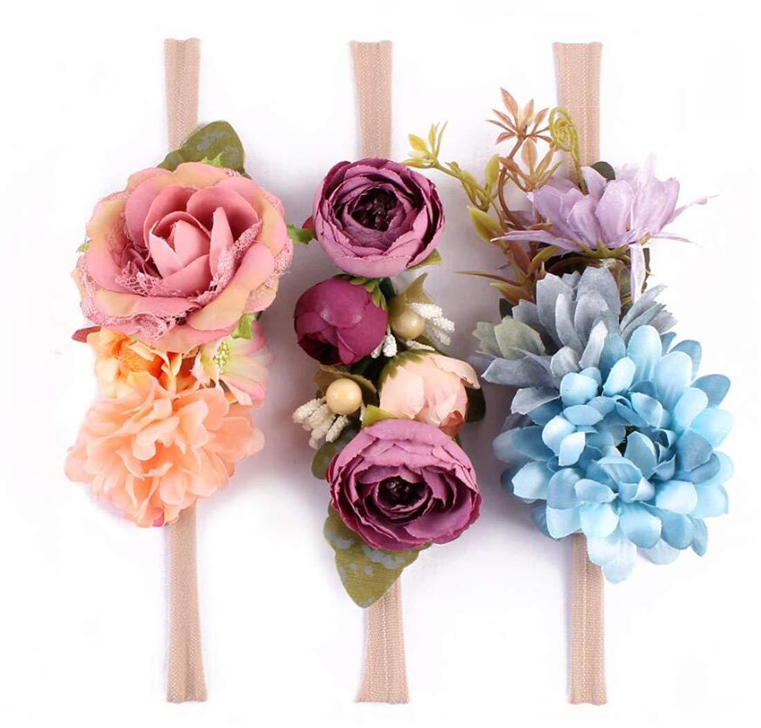Tmrow 1PC Artificial Camellia Flowers Garland Wreath Headband for Baby Girls Hair Hoop Headwear Photo Prop(Color Sent Randomly)
