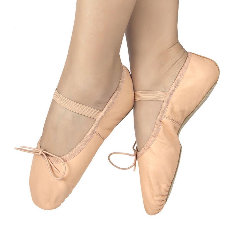 Tefamore Cuir rose Chaussons de danse de ballet Gym Chaussures Enfant Taille des filles Full Sole