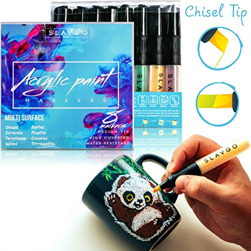 Rock And Roller Glasses (Permanent Acrylic Paint Pens for Rocks, Wood, Glass, Porcelain, Metal, Ceramic - Set of 8 Acrylic Paint Markers Medium Chisel Tip Best Choice for Wood signs, DIY projects, Custom Mug design)