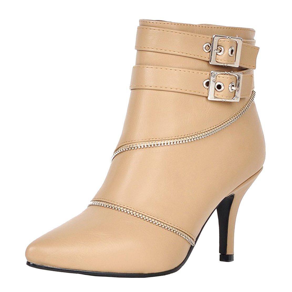 SHOWHOW Damen Sexy Klassischer Winter Boots Spitz High Heels Damenstiefel Beige 34 EU ZelxV