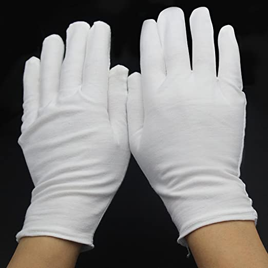 White Cotton Gloves Cotton Gloves For Dry Hands Cosmetic Inspection