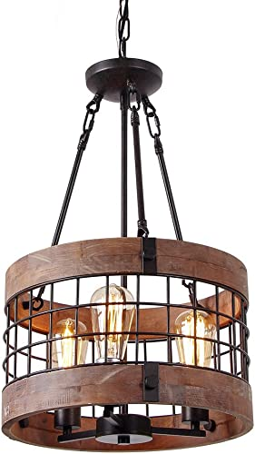 Anmytek Round Wooden Chandelier Metal Pendant Three Lights Decorative Lighting Fixture Retro Rustic Antique Ceiling Lamp Three Lights
