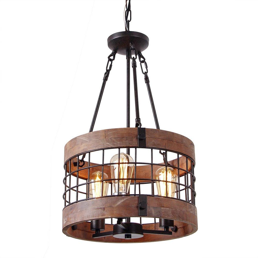 Anmytek Round Wooden Chandelier Metal Pendant Three Lights Decorative Lighting Fixture Retro Rustic Antique Ceiling Lamp (Three Lights)