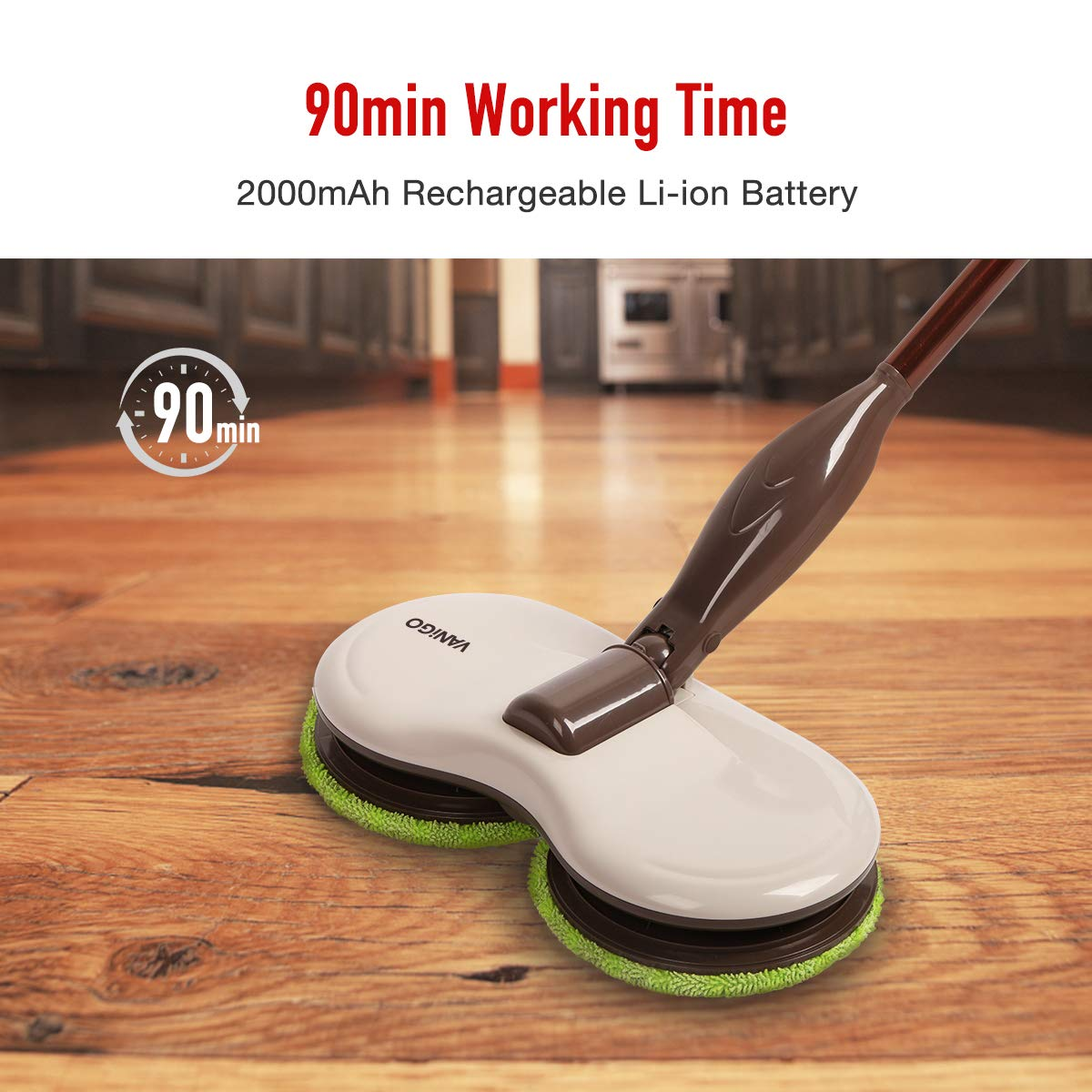Electric Spin Mop, Cordless Floor Sweeper Cleaner with Dual Spinning Heads and Replaceable Pads for Tile Wood Hard Floor Window by VANiGO (Image #6)