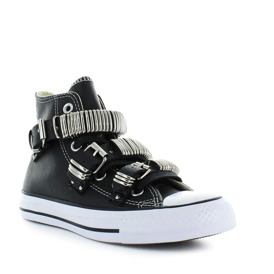 f88024c98fb31 Converse Chaussures Femme Baskets All Star Noir Punk Metal Buckle Automne-Hiver  2019