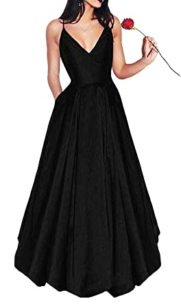 Yangprom Long Spaghetti Straps V-Neck Satin A-line Prom Dress with Pockets (