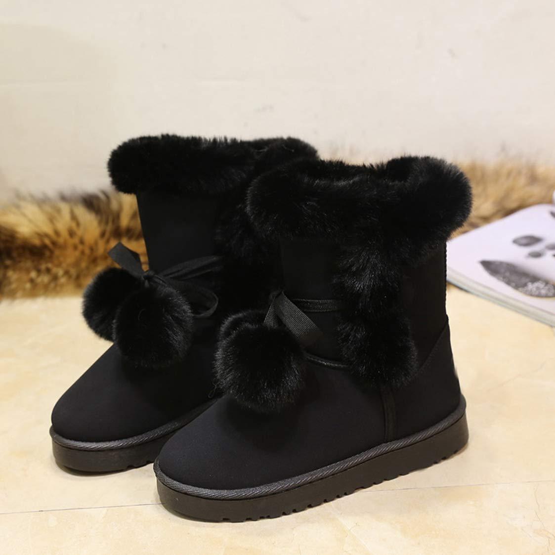 UKURO Female Australia Style Shoes Cutewarm Breathable Winter Felt Hair Flat Ankle Snow Boots Cold Weather