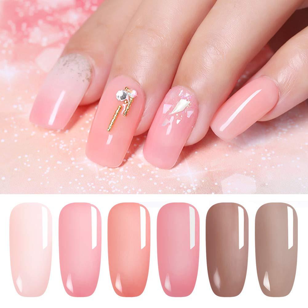 URSUGAR - Esmalte de uñas de gel de 7,5 ml de Jelly Nude, ópalo translúcido de verano, laca rosa translúcida, UV LED, manicura para uñas, colección de 6 ...