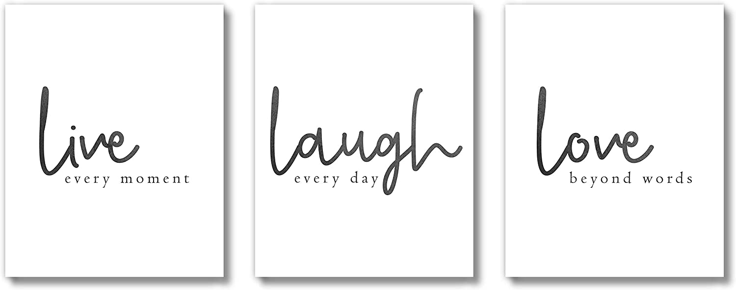 Brooke & Vine Inspirational Farmhouse Wall Decor Art Prints on Cardstock (UNFRAMED 8 x 10 Set of 3) Women Teen Girl Room Inspirational Posters - Family Room Kitchen Dining Room for Home, Office, Bedroom, Dorm or Cubicle (Live Love Laugh)