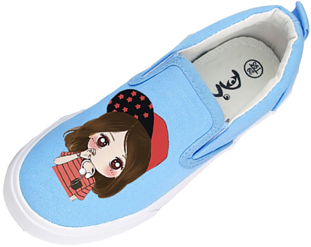 VECJUNIA Girl's Pretty Cartoon Round Toe Athletics Flats Fabric Loafer Shoes (Blue2, 13.5 M US Little Kid)