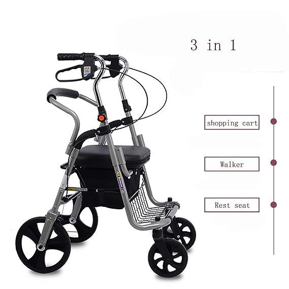 Amazon.com: Andador plegable con asiento, andador de cuatro ...