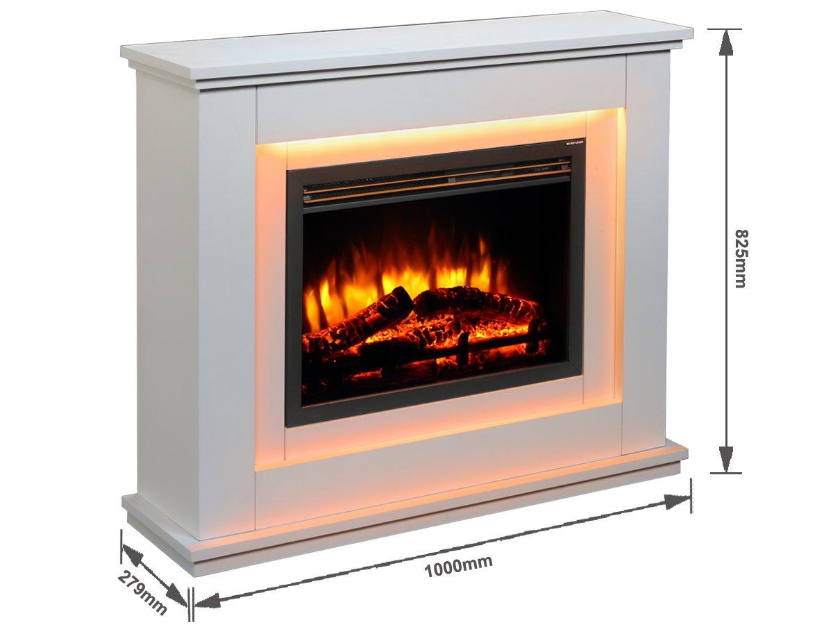 Chimenea eléctrica Castleton suite de vidrio frente a fuego ...