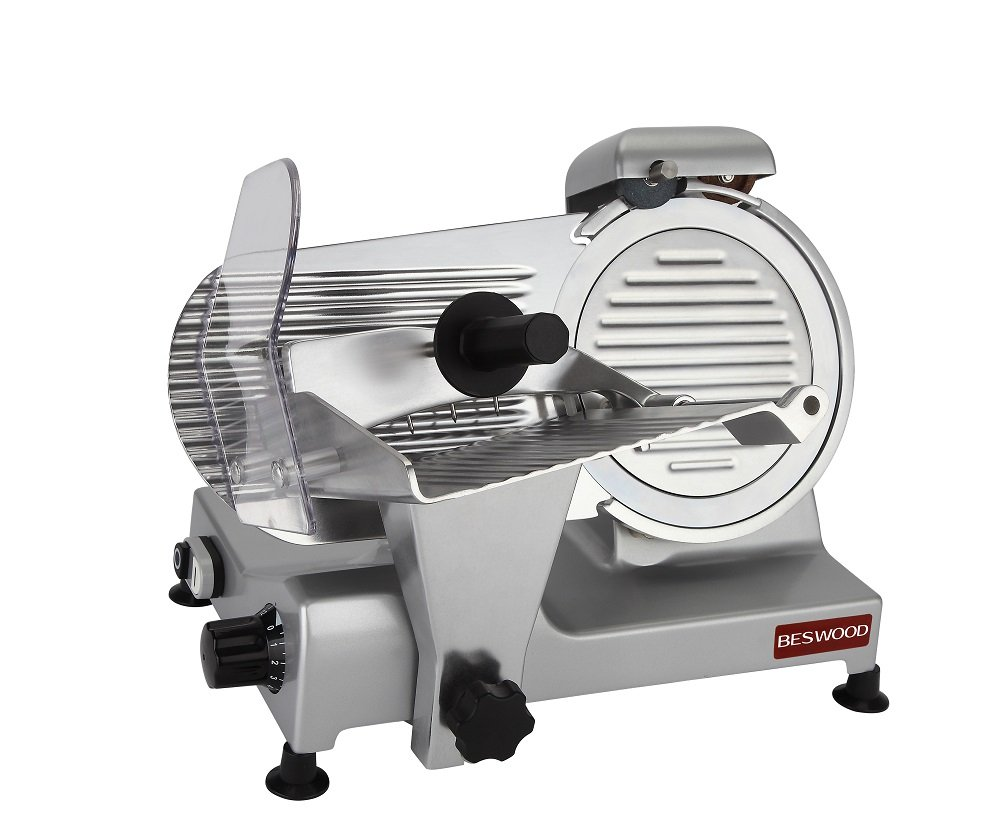 BESWOOD 9'' Premium Chromium-plated Carbon Steel Blade Electric Deli Meat Cheese Food Slicer Commercial and for Home Use 240W BESWOOD220