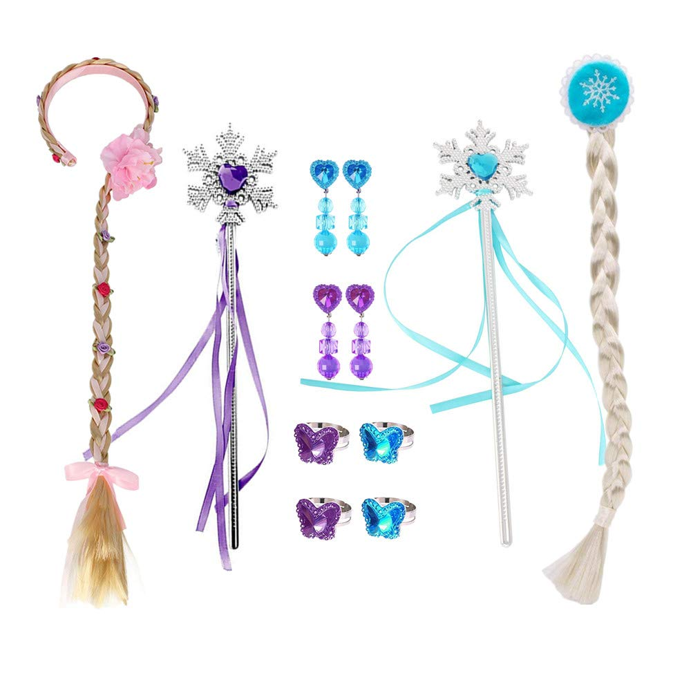 Starkma Princess Rapunzel and Elsa Costume Accessories Dress Up -2Pc Wigs,2Pc Wands,2 Set Earrings, 4Pc Rings
