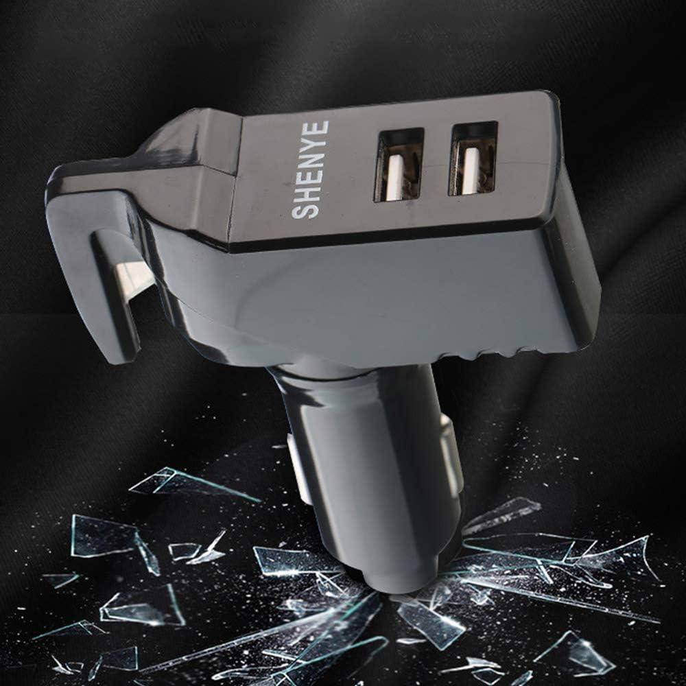 Bupin 3 en 1 Chargeur de Voiture Double USB Multifonction pour fen/être Coupe-Ceinture de s/écurit/é Outil d/évacuation durgence