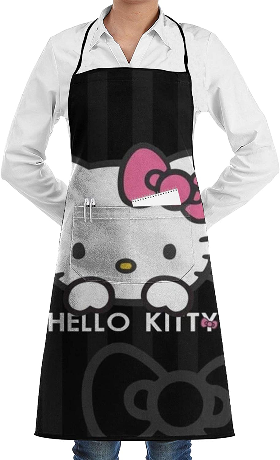 RGFK Hello Kitty Bib Aprons,Water Oil Stain Resistant Washable with Pockets Cooking Apron for Thanksgiving Christmas Cooking Baking