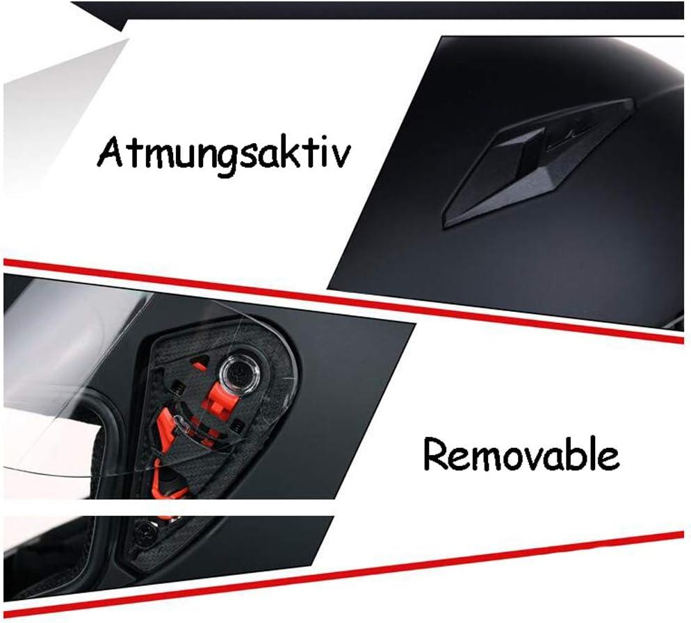 MOTUO Full Face Motorradhelm Integral-Helm Roller Helm Herren Visier Schnellverschluss