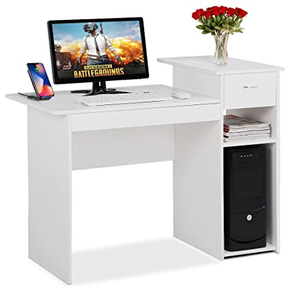 compact office furniture. Contemporary Office Topeakmart White Compact Computer Desk With Drawer And Shelf Small Spaces  Home Office Furniture In