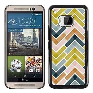 TopCaseStore / la caja del caucho duro de la cubierta de protección de la piel - Tiles Green Navy Blue Pattern - HTC One M9