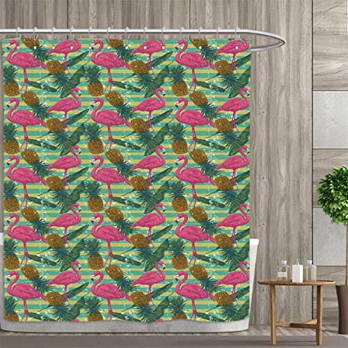 Flamingo Shower Curtains Sets Bathroom Tropical Animals on Striped Background with Pineapples Banana Leaves Grunge Look Satin Fabric Sets Bathroom 36